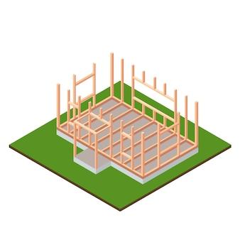 Timber frame house base construction design. isometric