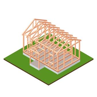Timber frame house base under construction design. isometric