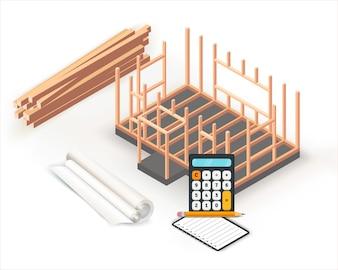 Timber frame house base construction design.