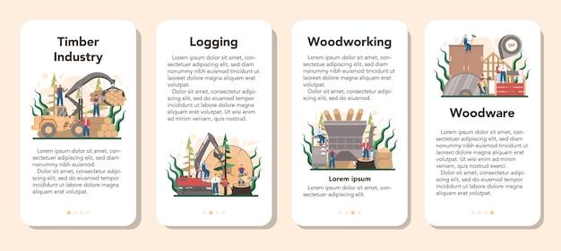 목재 산업 및 목재 생산 모바일 응용 프로그램 배너 세트