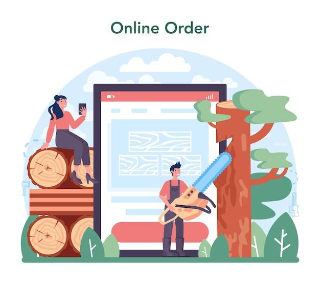 목재 산업 및 목재 생산 온라인 서비스 또는 플랫폼. 벌목 및 목공 과정. 글로벌 산업 분류. 온라인 주문. 벡터 일러스트 레이 션