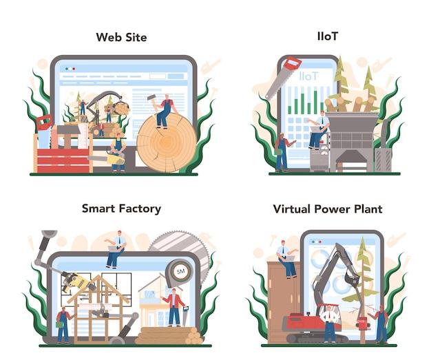 목재 산업 및 목재 생산 온라인 서비스 또는 플랫폼 세트