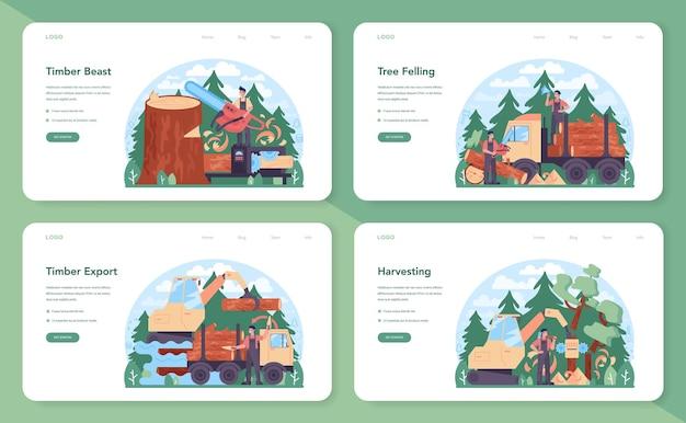 목재 산업 및 목재 생산 웹 배너 또는 방문 페이지 세트