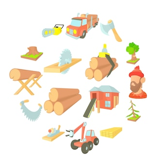 Timber industry icons set, cartoon ctyle