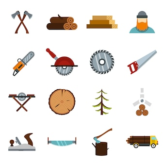 Timber industry icons set in flat style