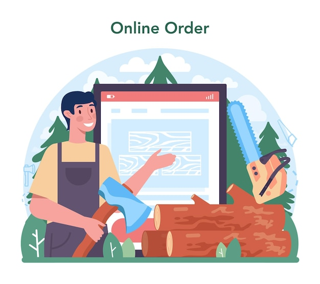 목재 산업 온라인 서비스 또는 플랫폼. 벌목 및 목공 과정. 글로벌 산업 분류 표준. 온라인 주문. 벡터 일러스트 레이 션