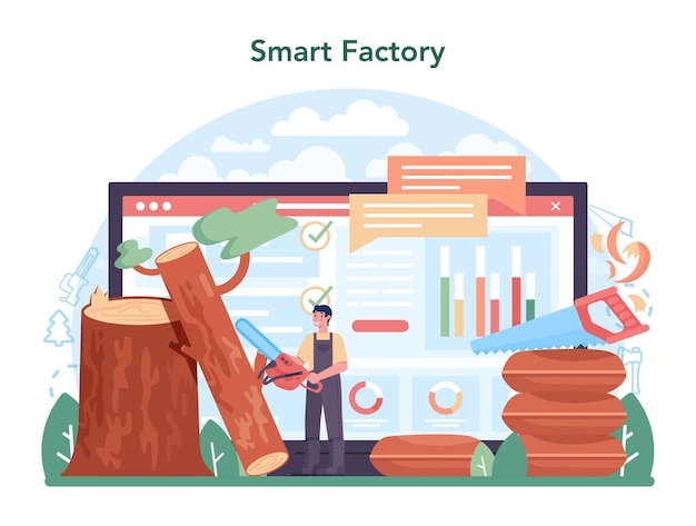 Timber industry online service or platform. logging and woodworking process. global industry classification standard. online smart factory. vector illustration