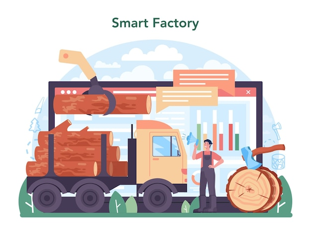 Timber industry and wood production online service or platform. logging and woodworking process. global industry classification. smart factory. vector illustration