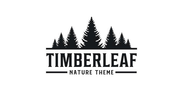 Timber leaf pine nature silhouette vintage retro logo
