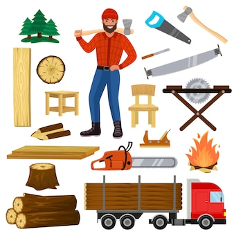 Timber lumberman character and logger saws lumber or hardwood set of wooden timbered materials in sawmill and lumberjack man isolated on white background