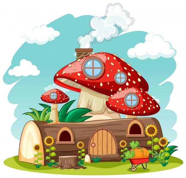 Деревянный грибной дом и в саду мультяшном стиле на фоне неба