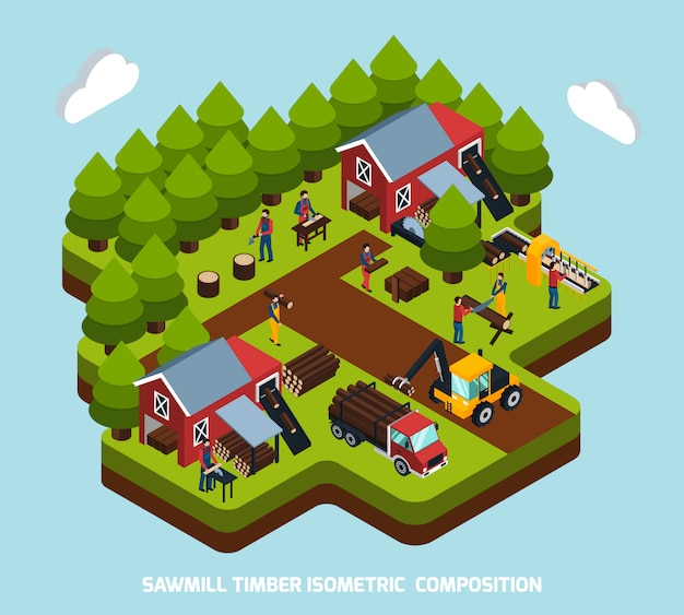 Timber production isometric composition
