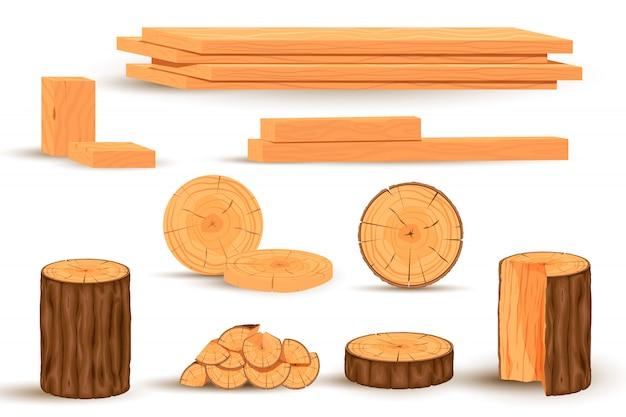 Древесина установлена. сложенные пиломатериалы и дрова, объекты лесных деревьев и производство древесных пиломатериалов мультфильм векторные иллюстрации