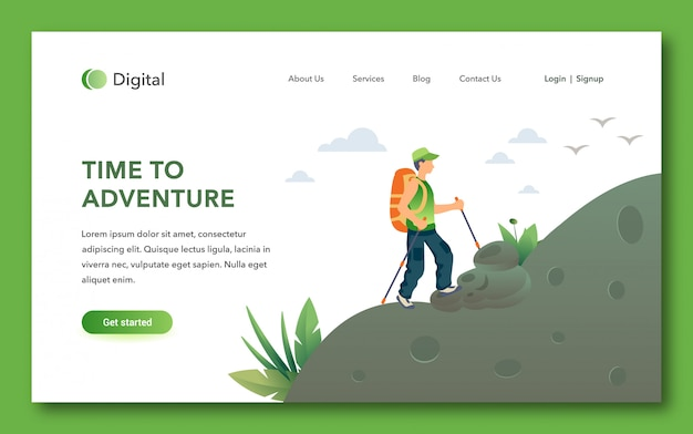 Time to adventure landing page design