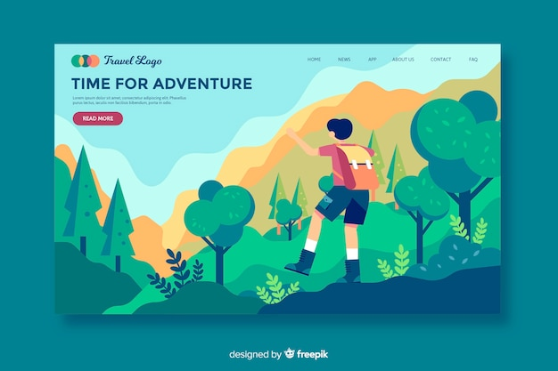 Time for adventure landing page