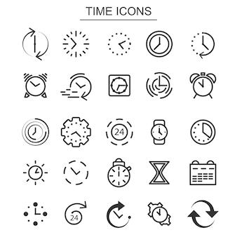 시간 및 시계 아이콘입니다. 알람 시계 및 스톱워치 요소입니다. 흰색 배경에 고립 된 검은 얇은 라인 아이콘의 집합입니다. 벡터 일러스트 레이 션.