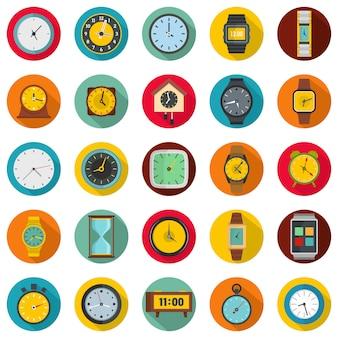 Установленные значки времени и часов, плоский стиль