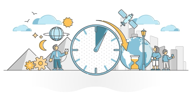 Time as clock and watch measurement in urban smart city outline concept.