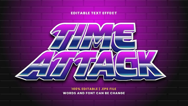 Time attack editable text effect in modern 3d style