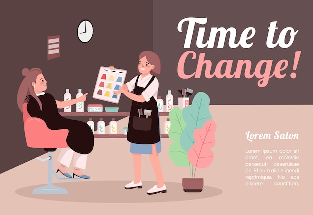 Time to change banner flat design template
