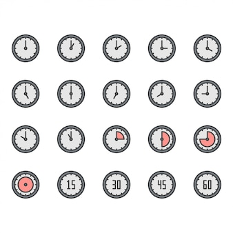Time and clock icon and symbol set