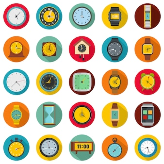 Time and clock icons set, flat style