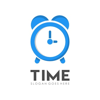 Time clock logo design template Premium Vector