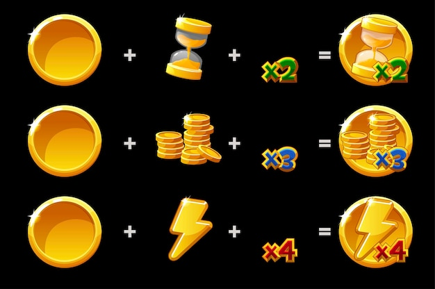 Time, coin and energy golden bonus constructor icons for game. vector illustration set of details icons of doubling prizes for ui.