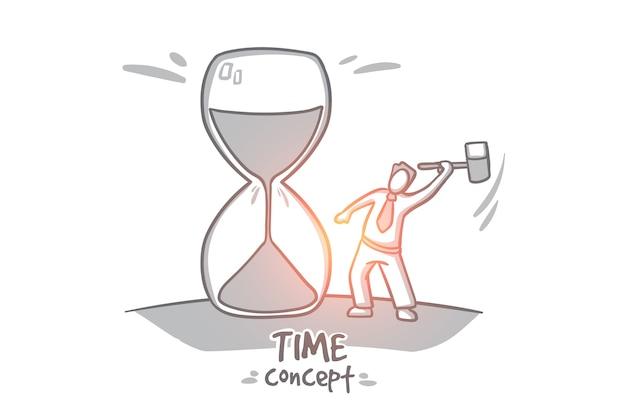 時間の概念。手描きの砂時計の時間が経過します。男は、停止時間の孤立した図をツルーイングします。