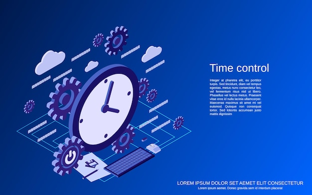 Time control flat  isometric  concept illustration