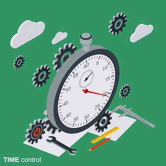 Time control flat isometric vector concept illustration
