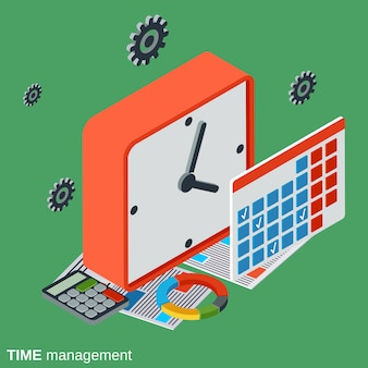 Time control, management flat isometric vector concept illustration