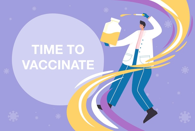 Time to coronavirus vaccination concept. the coronavirus (covid-19) vaccine is effective enough to prevent the spread of the virus.