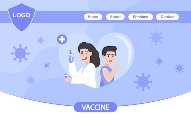 Time to coronavirus vaccination concept. landing page for the coronavirus covid-19 vaccine
