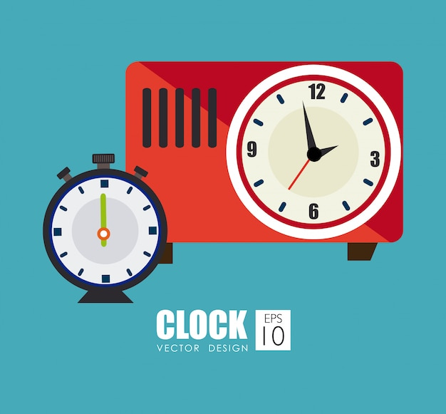 Время дизайн на синем фоне векторных иллюстраций