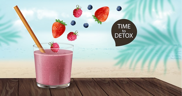 Time to detox banner with old fashioned glass and bamboo straw. berry smoothie with strawberry and blueberry decoration flying. beach and palm leaves on background