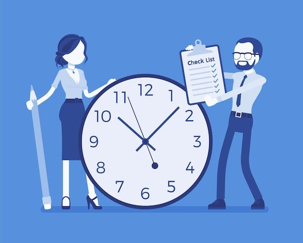 Время, обязанности для деловых людей. бизнесмен и деловая женщина, стоящие у гигантских часов, контрольный список с задачами, которые необходимо выполнить сотрудникам, планирование команды для выполнения. векторная иллюстрация, безликие персонажи