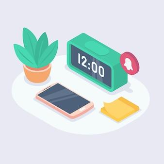 Время подходит для будильника, часов, напоминаний, утренних звонков.