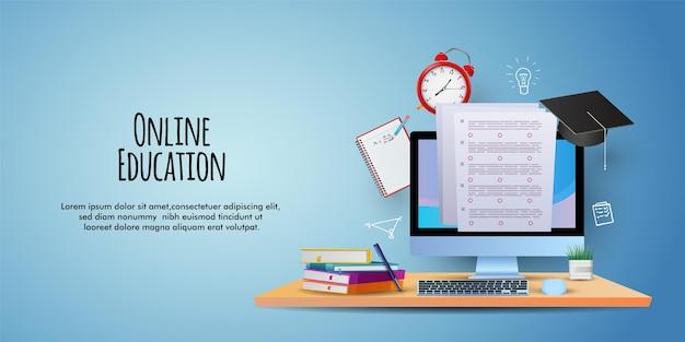 バッグコンピュータの本と鉛筆でオンライン教育のイラストの時間