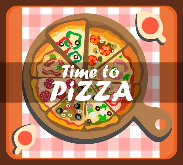 피자 소셜 미디어 배너 템플릿 시간