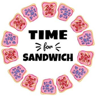サンドイッチリースの時間です。ベリーヘルシーポスターとトーストパンサンドイッチ。朝食または昼食のビーガンフード。ベジタリアン料理のイラストをストック