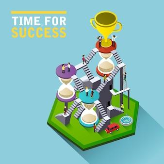 Время успеха плоская 3d изометрическая инфографика с людьми, поднимающимися по лестнице с песочными часами, чтобы добраться до трофея