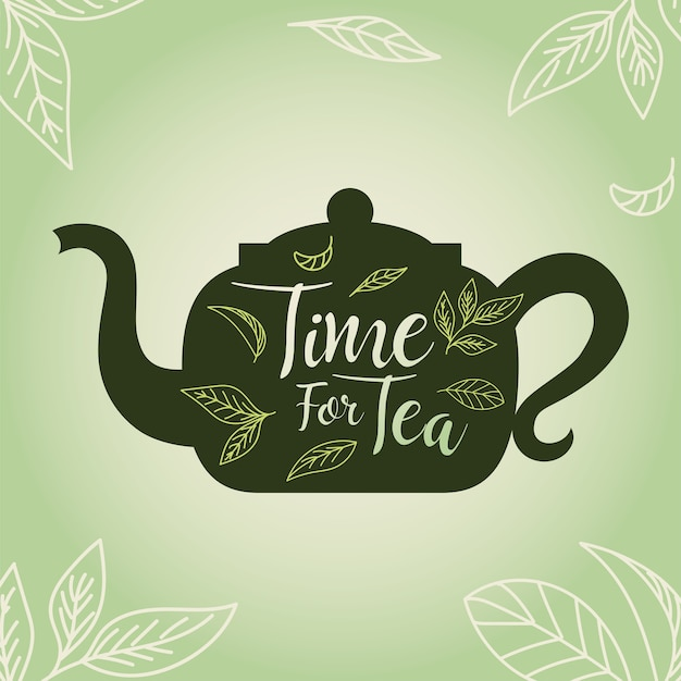ポットと葉とお茶の時間、朝食の飲み物を飲む熱い磁器セラミック英語と招待テーマのイラスト