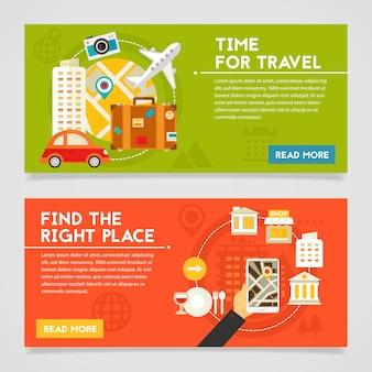 旅行の時間と適切な場所のコンセプトバナーを見つけます。水平方向の構成