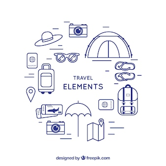 Time for traveling background with elements