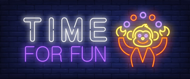 Time for fun neon text with monkey juggling