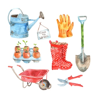 Time to gardening watercolor pictograms composition of watering pot and seedlings to plant