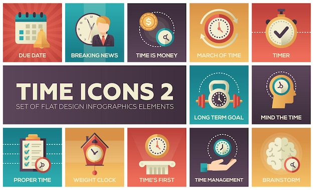 Time icons - modern set of flat design infographics elements. due date, breaking news, money, march, timer, long term goal, mind, proper, weight clock, first, management, brainstorm