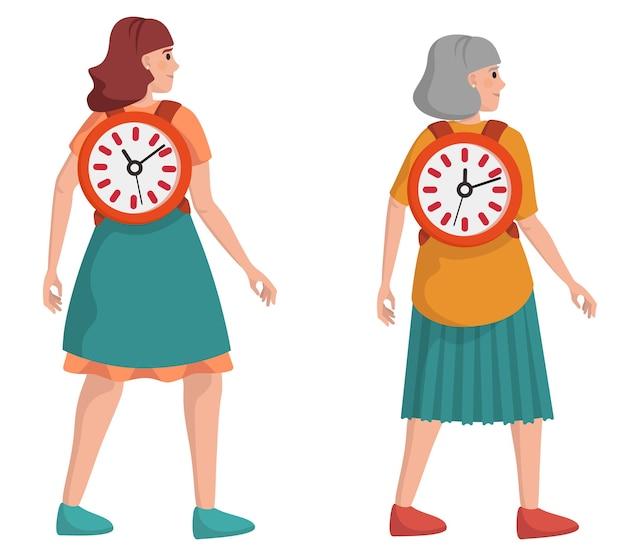 時間は人生です。さまざまな年齢の女性キャラクター。ライフスタイルの概念。