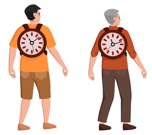 時間は人生です。さまざまな年齢の男性キャラクター。ライフスタイルの概念。